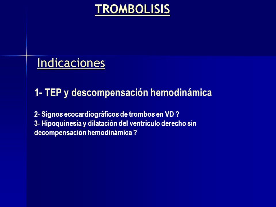 Indicaciones 1- TEP y descompensación hemodinámica 2- Signos ecocardiográficos de trombos en VD ? 3- Hipoquinesia y dilatación del ventrículo derecho