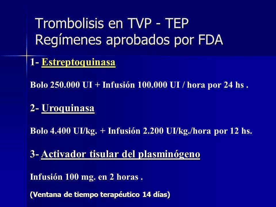 Trombolisis en TVP - TEP Regímenes aprobados por FDA 1- Estreptoquinasa Bolo 250.000 UI + Infusión 100.000 UI / hora por 24 hs. 2- Uroquinasa Bolo 4.4