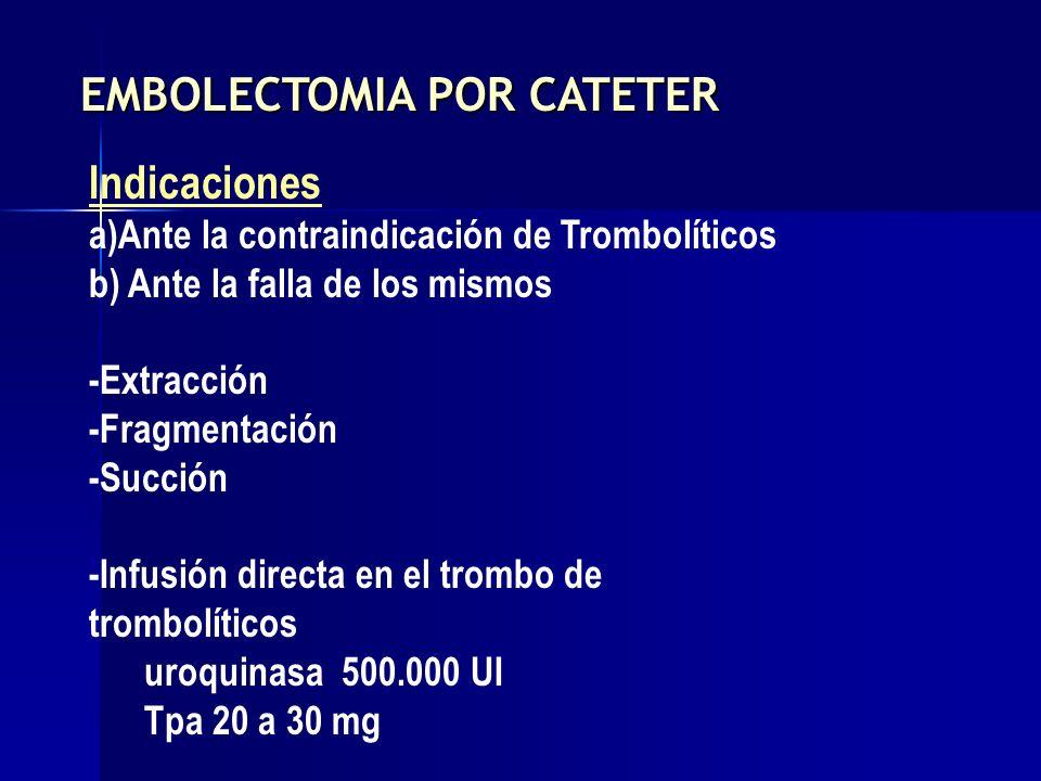 Indicaciones a)Ante la contraindicación de Trombolíticos b) Ante la falla de los mismos -Extracción -Fragmentación -Succión -Infusión directa en el tr