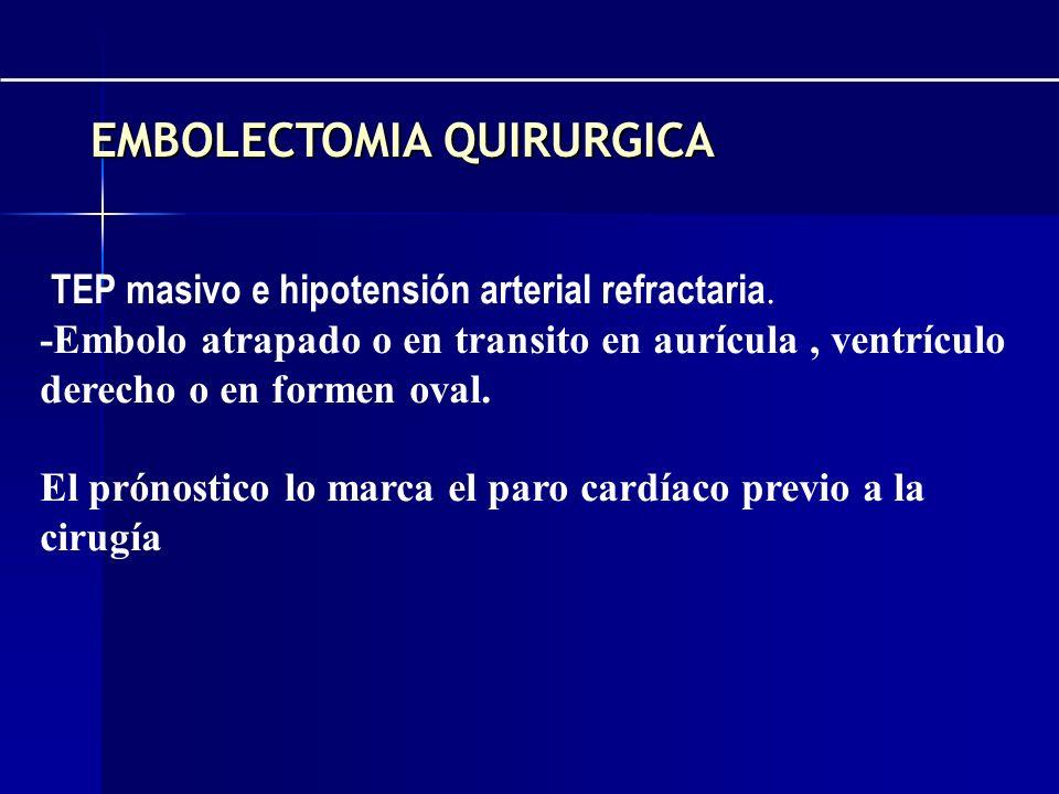 -TEP masivo e hipotensión arterial refractaria. -Embolo atrapado o en transito en aurícula, ventrículo derecho o en formen oval. El prónostico lo marc