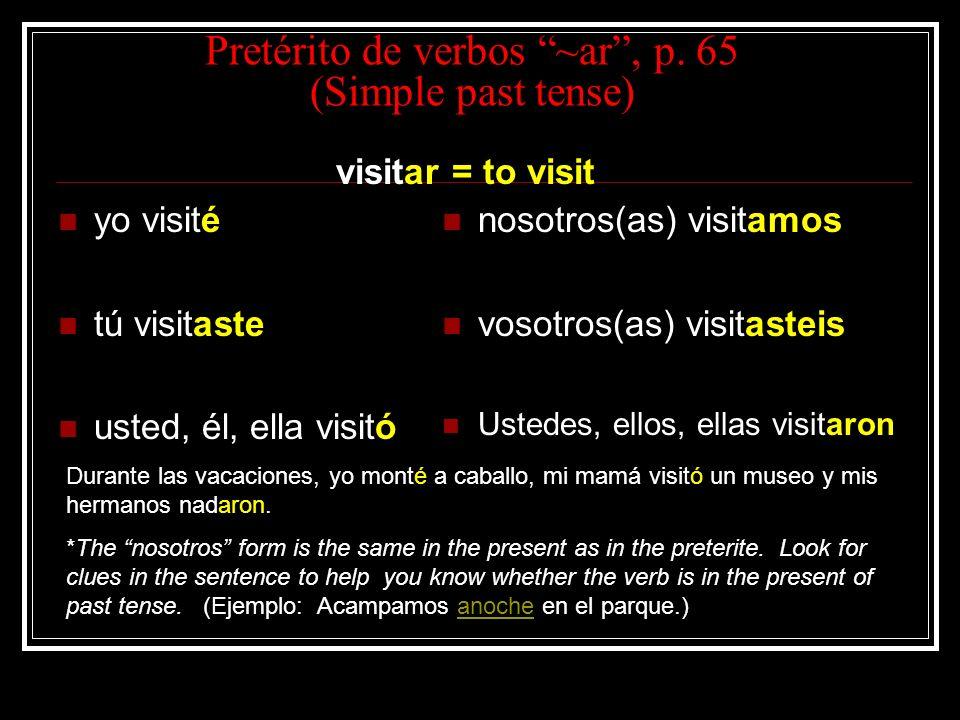 Pretérito de verbos ~ar, p.