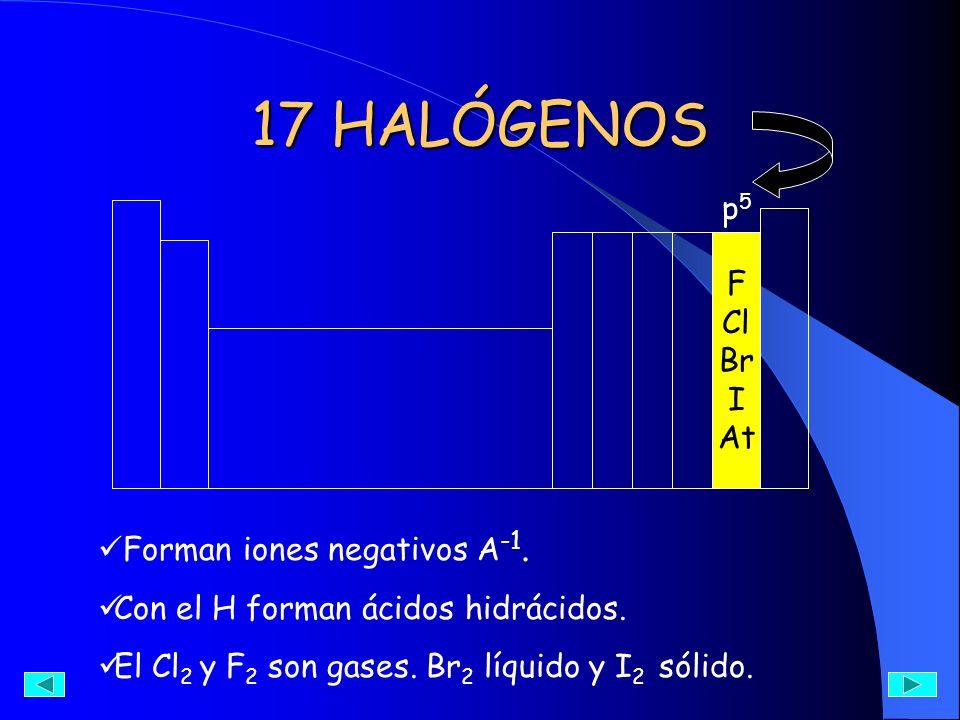 17 HALÓGENOS p5p5 F Cl Br I At Forman iones negativos A -1. Con el H forman ácidos hidrácidos. El Cl 2 y F 2 son gases. Br 2 líquido y I 2 sólido.