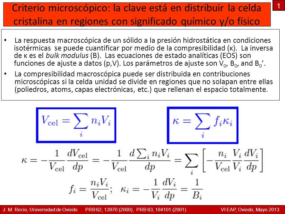 Criterio microscópico: la clave está en distribuir la celda cristalina en regiones con significado químico y/o físico La respuesta macroscópica de un