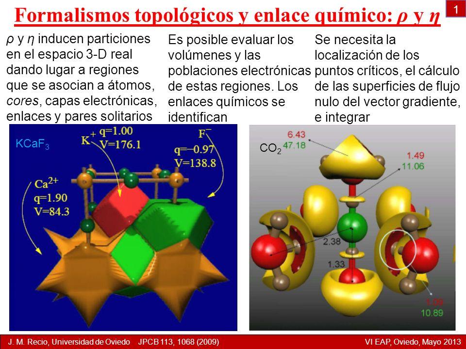 Formalismos topológicos y enlace químico: ρ y η ρ y η inducen particiones en el espacio 3-D real dando lugar a regiones que se asocian a átomos, cores