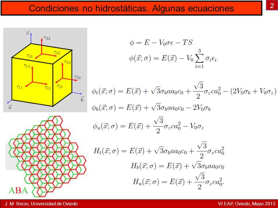 2 Condiciones no hidrostáticas. Algunas ecuaciones J. M. Recio, Universidad de Oviedo VI EAP, Oviedo, Mayo 2013