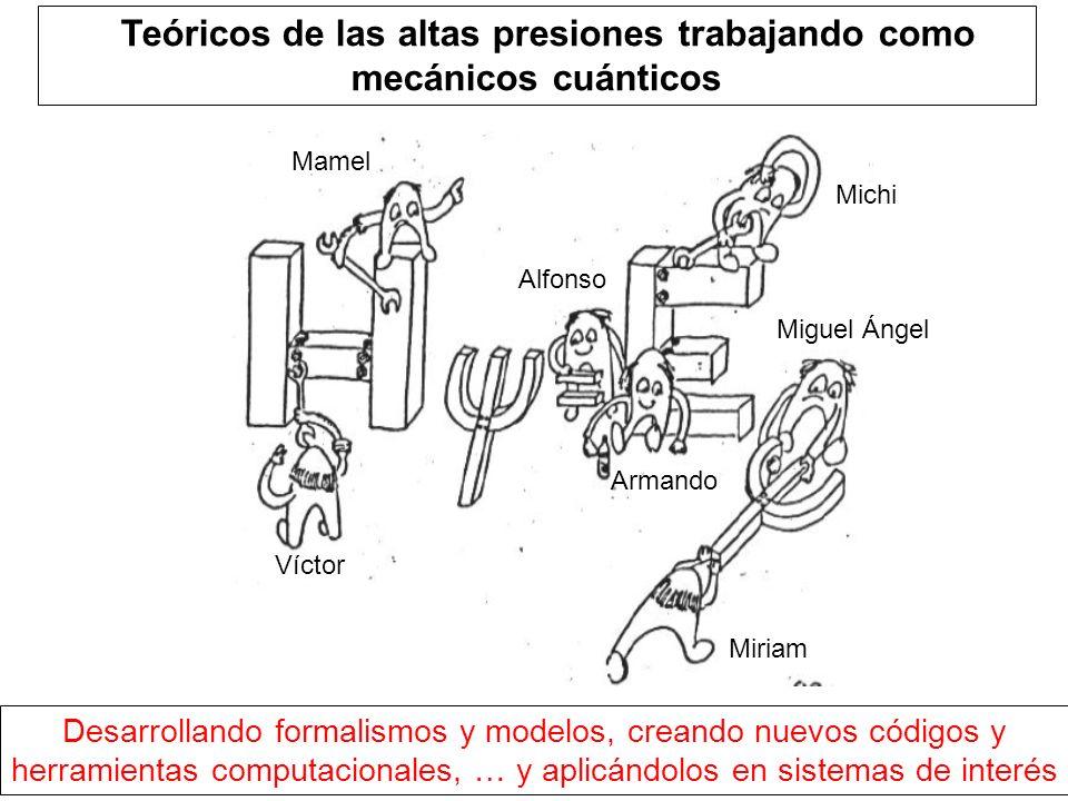 TTeóricos de las altas presiones trabajando como mecánicos cuánticos Víctor Alfonso Armando Miguel Ángel Desarrollando formalismos y modelos, creando