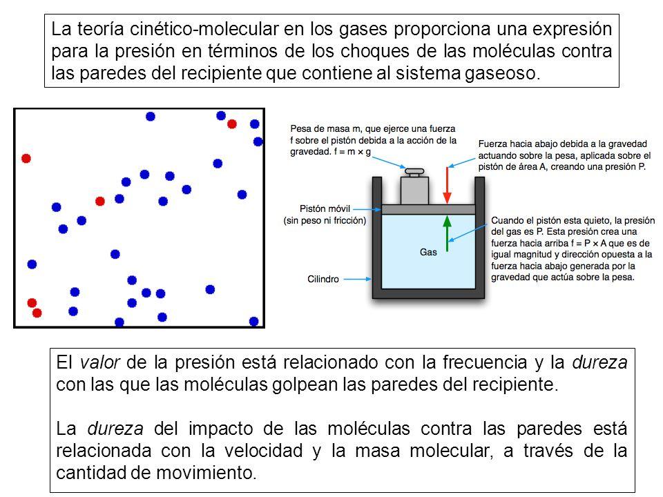 La teoría cinético-molecular en los gases proporciona una expresión para la presión en términos de los choques de las moléculas contra las paredes del