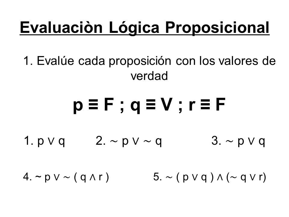 Evaluaciòn Lógica Proposicional 1.