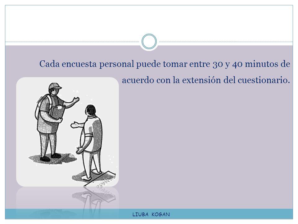Cada encuesta personal puede tomar entre 30 y 40 minutos de acuerdo con la extensión del cuestionario. LIUBA KOGAN