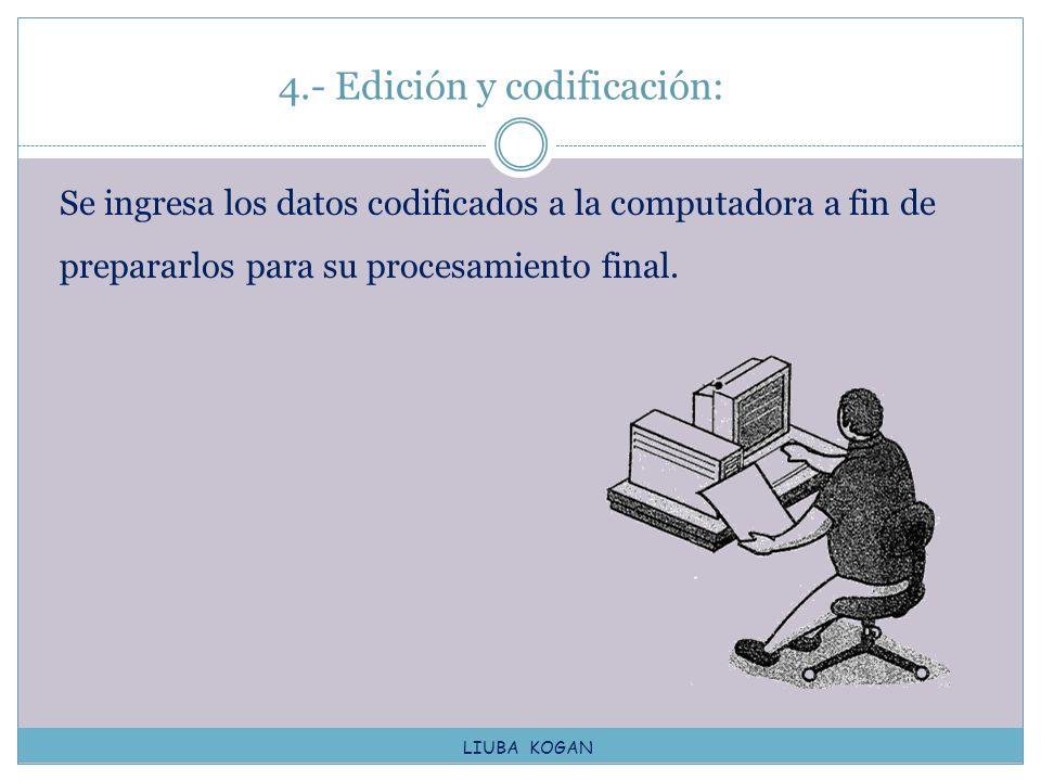 4.- Edición y codificación: Se ingresa los datos codificados a la computadora a fin de prepararlos para su procesamiento final. LIUBA KOGAN
