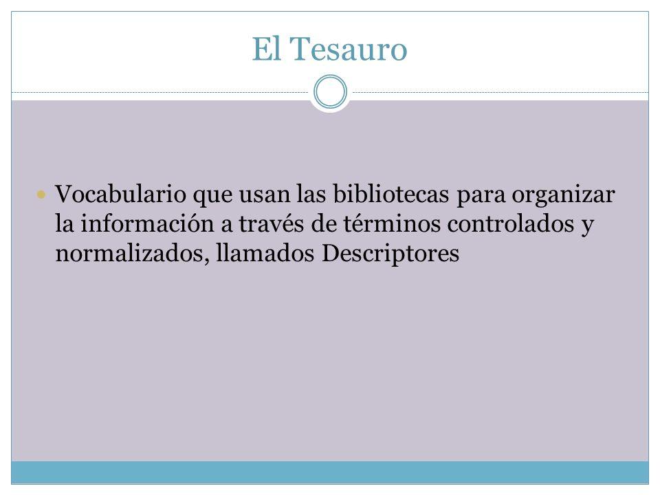 El Tesauro Vocabulario que usan las bibliotecas para organizar la información a través de términos controlados y normalizados, llamados Descriptores