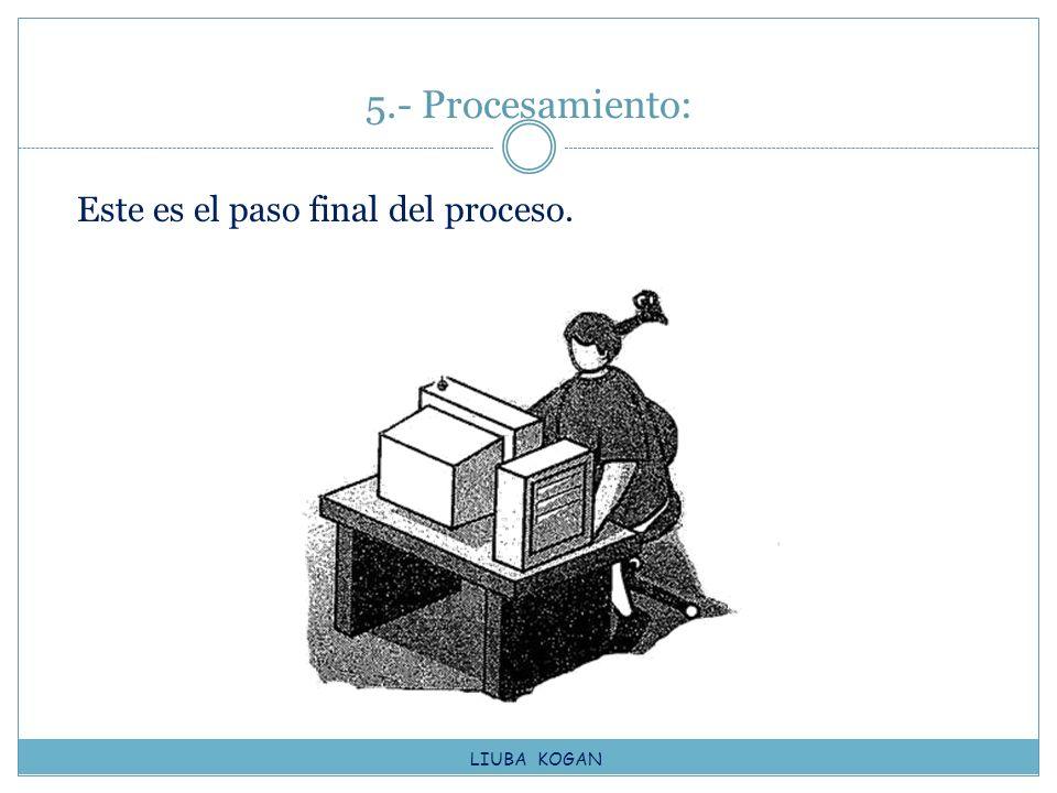 5.- Procesamiento: Este es el paso final del proceso. LIUBA KOGAN