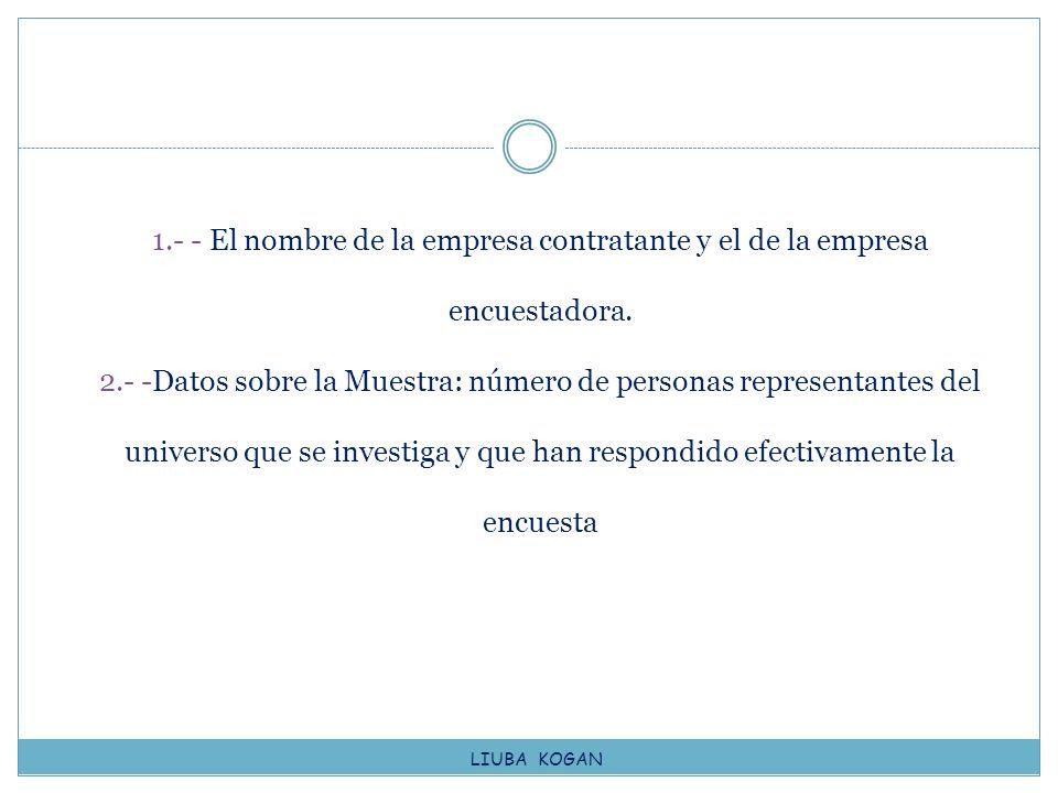 1.- - El nombre de la empresa contratante y el de la empresa encuestadora. 2.- -Datos sobre la Muestra: número de personas representantes del universo
