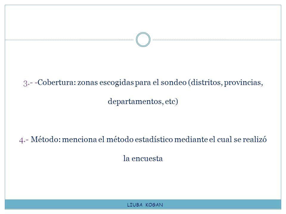 3.- -Cobertura: zonas escogidas para el sondeo (distritos, provincias, departamentos, etc) 4.- Método: menciona el método estadístico mediante el cual