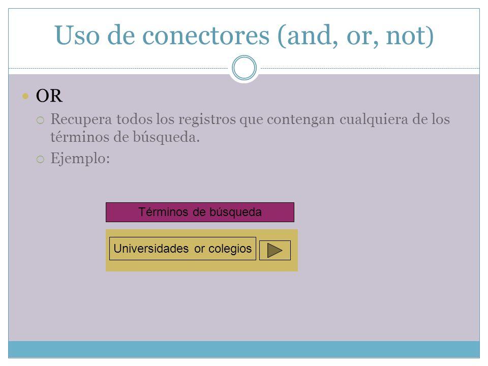 Uso de conectores (and, or, not ) OR Recupera todos los registros que contengan cualquiera de los términos de búsqueda. Ejemplo: Términos de búsqueda
