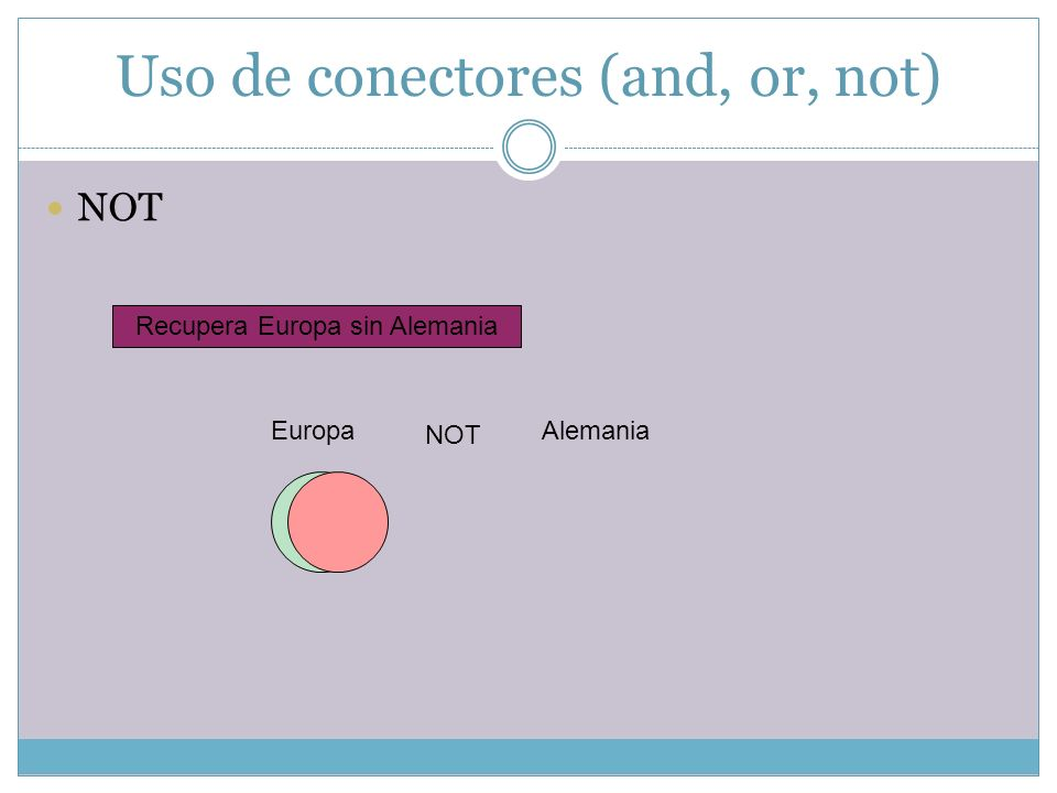 Uso de conectores (and, or, not) NOT Recupera Europa sin Alemania Europa NOT Alemania