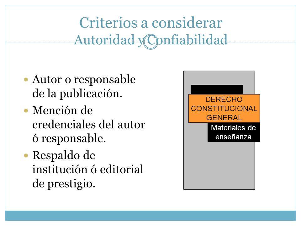 Criterios a considerar Autoridad y Confiabilidad Autor o responsable de la publicación. Mención de credenciales del autor ó responsable. Respaldo de i