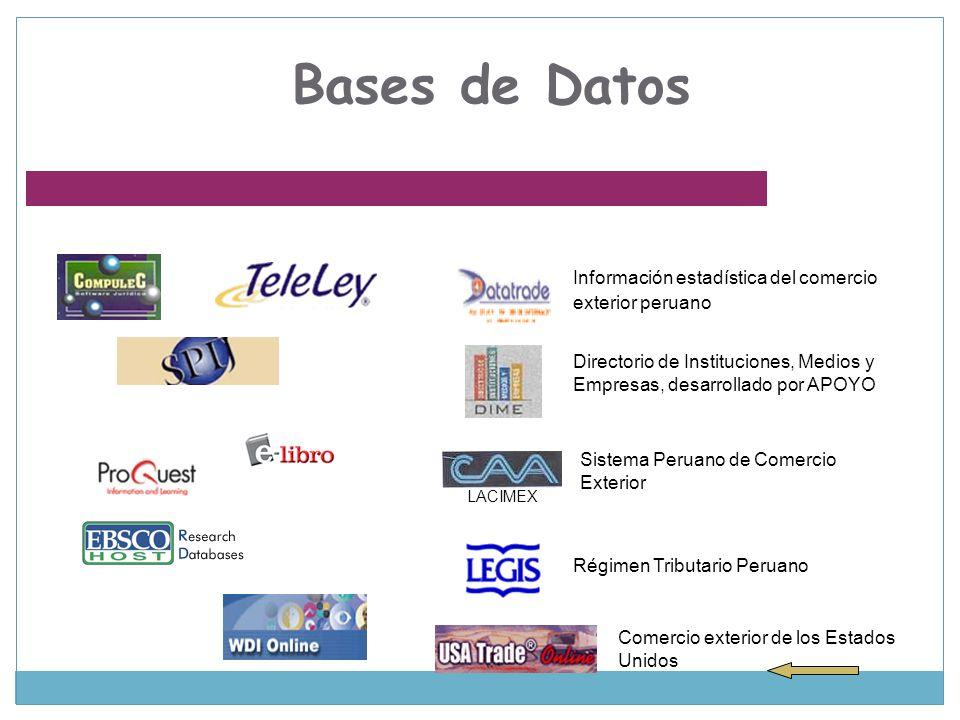 Bases de Datos Información estadística del comercio exterior peruano Directorio de Instituciones, Medios y Empresas, desarrollado por APOYO Sistema Pe