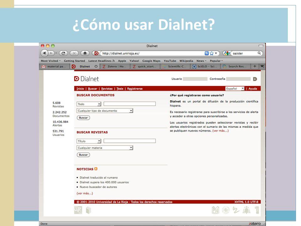 ¿Cómo usar Dialnet?