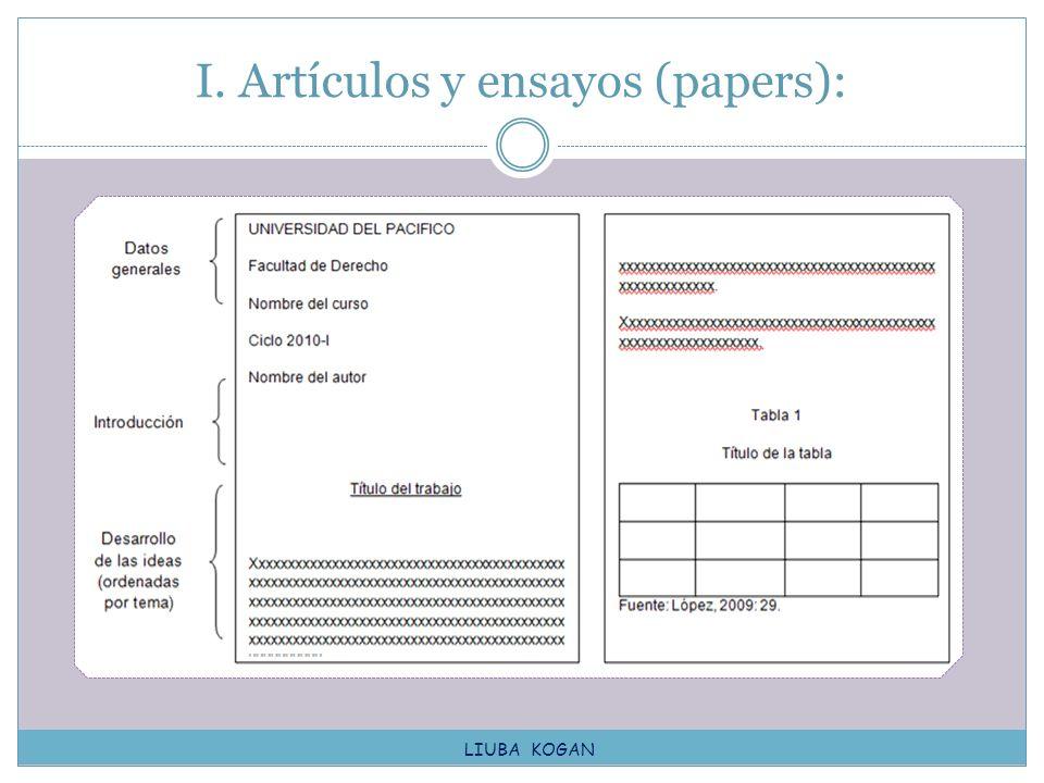 I. Artículos y ensayos (papers): LIUBA KOGAN