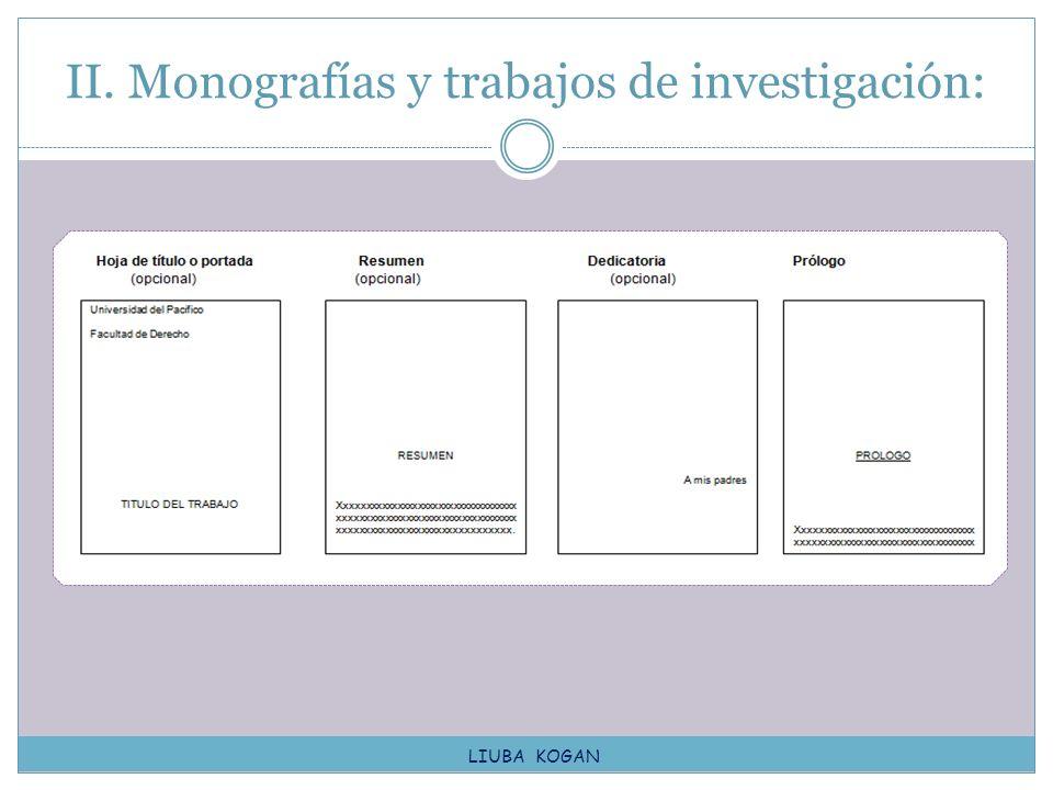 II. Monografías y trabajos de investigación: LIUBA KOGAN