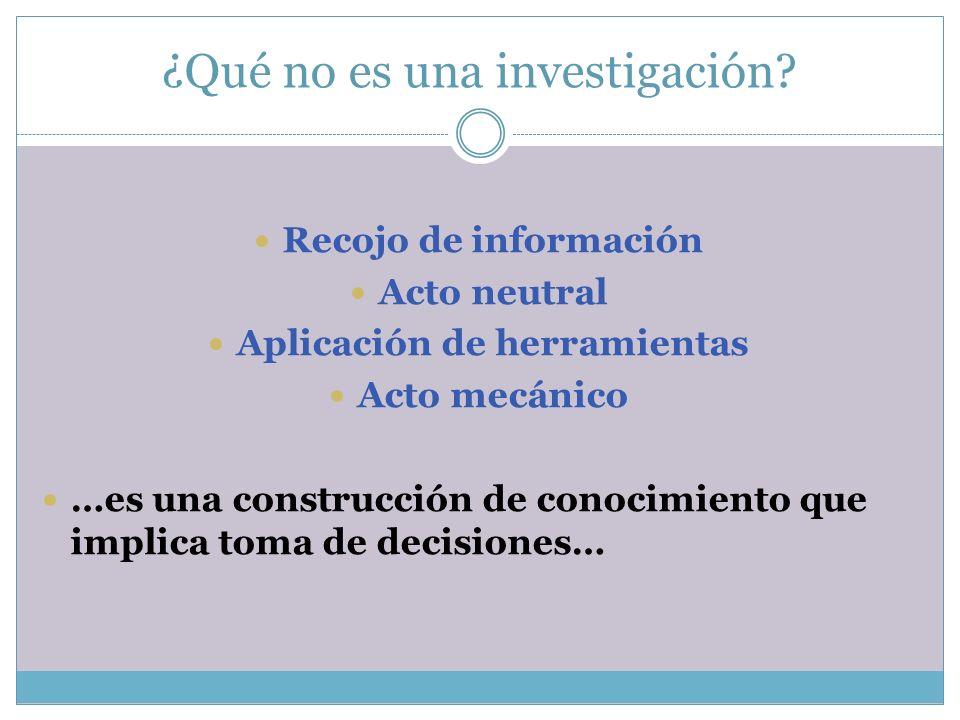 ¿Qué no es una investigación? Recojo de información Acto neutral Aplicación de herramientas Acto mecánico …es una construcción de conocimiento que imp