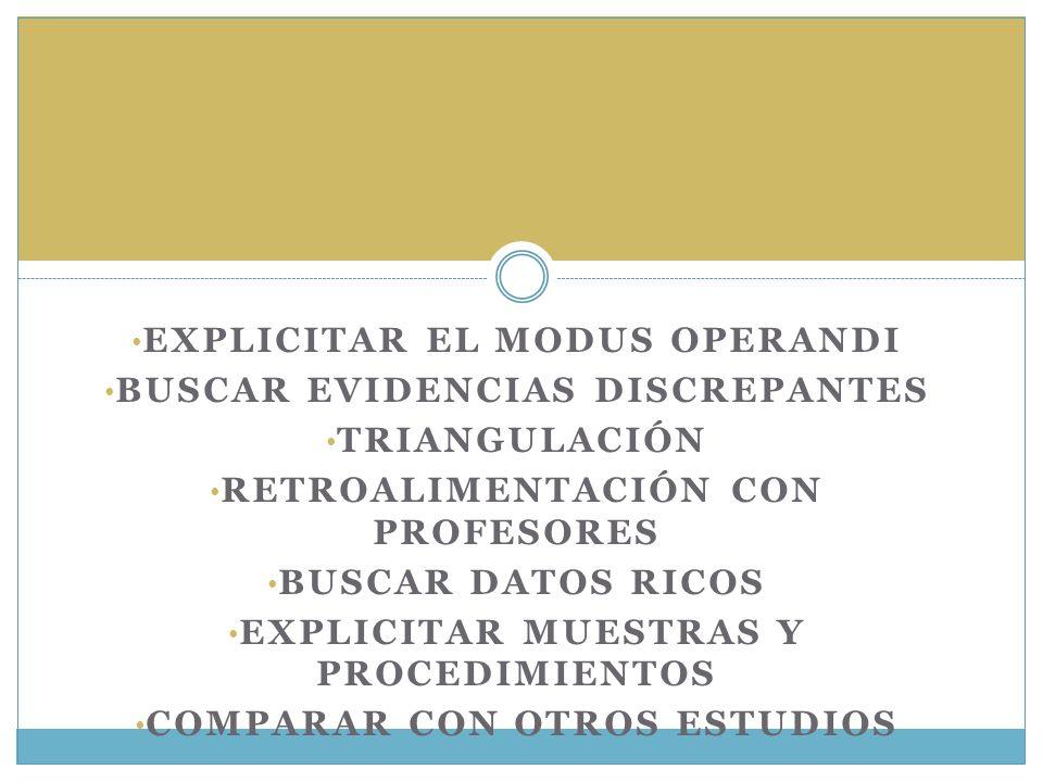 EXPLICITAR EL MODUS OPERANDI BUSCAR EVIDENCIAS DISCREPANTES TRIANGULACIÓN RETROALIMENTACIÓN CON PROFESORES BUSCAR DATOS RICOS EXPLICITAR MUESTRAS Y PR