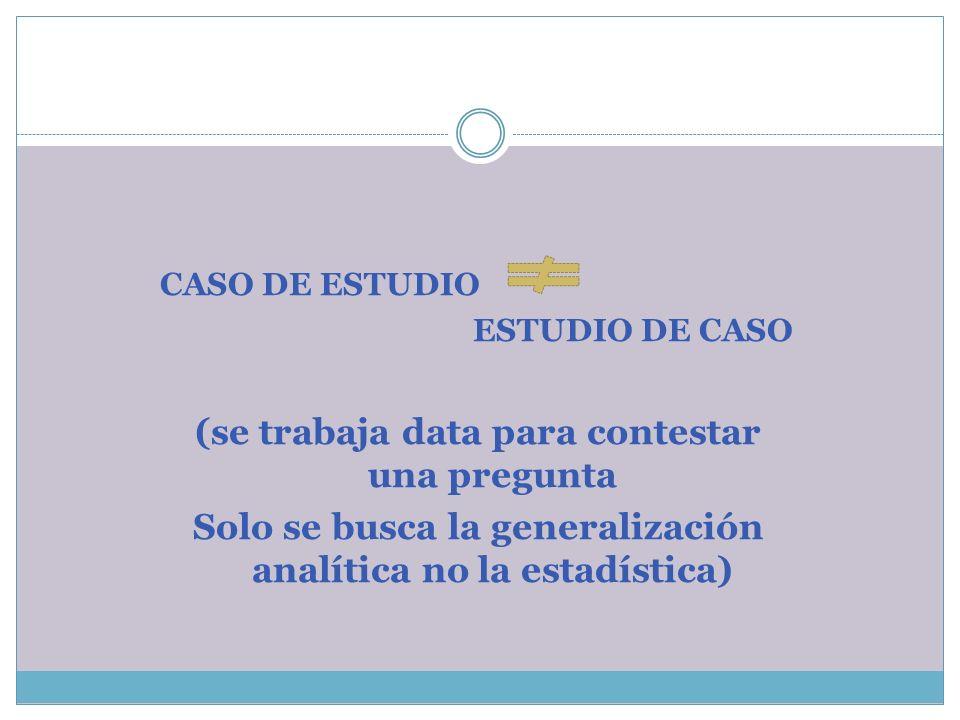 CASO DE ESTUDIO ESTUDIO DE CASO (se trabaja data para contestar una pregunta Solo se busca la generalización analítica no la estadística)