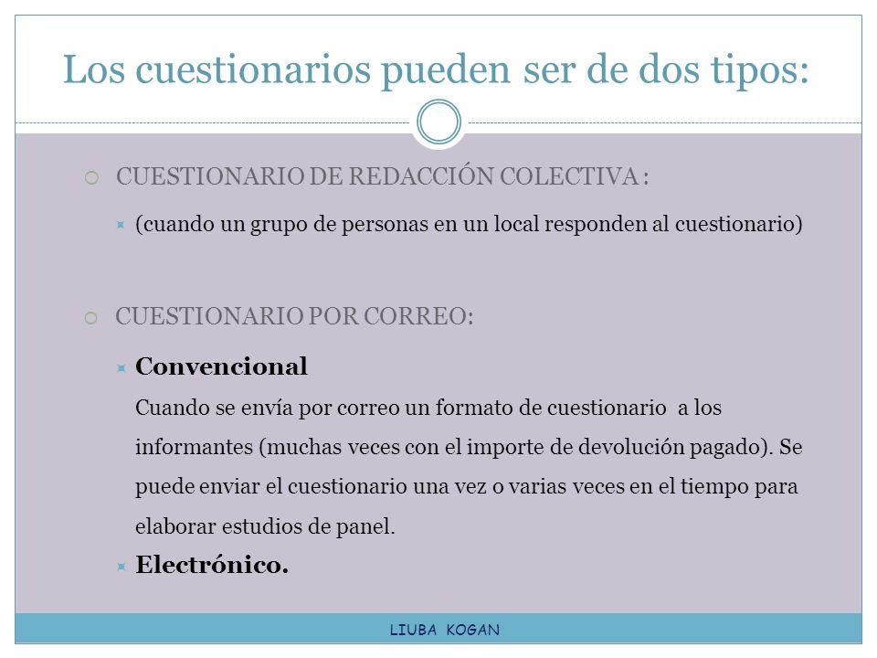CUESTIONARIO DE REDACCIÓN COLECTIVA : (cuando un grupo de personas en un local responden al cuestionario) CUESTIONARIO POR CORREO: Convencional Cuando