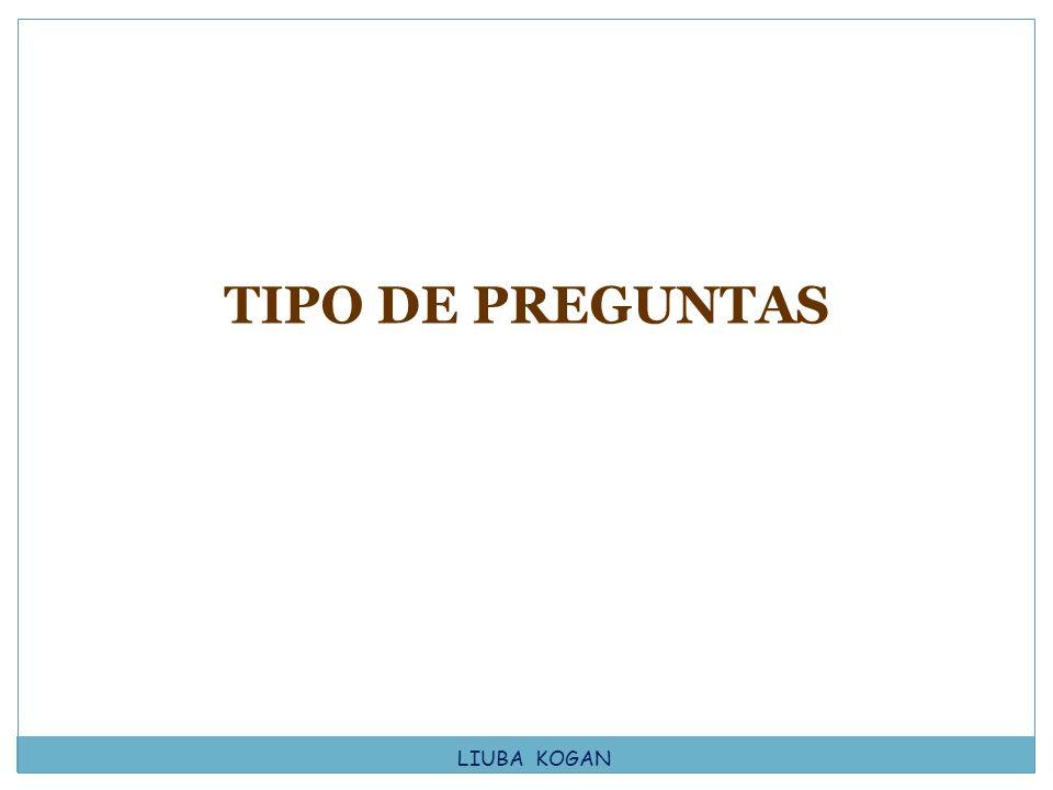 TIPO DE PREGUNTAS LIUBA KOGAN