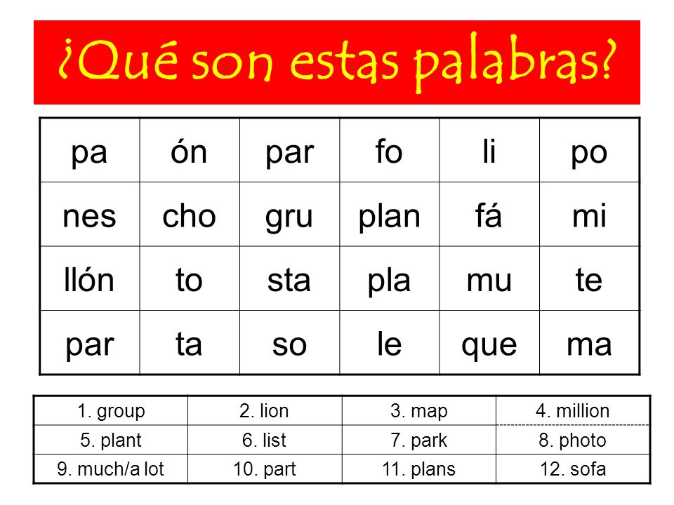 ¿Qué son estas palabras? 1. group2. lion3. map4. million 5. plant6. list7. park8. photo 9. much/a lot10. part11. plans12. sofa paónparfolipo neschogru