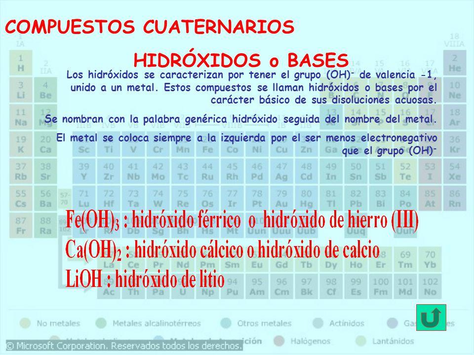 COMPUESTOS CUATERNARIOS HIDRÓXIDOS o BASES Los hidróxidos se caracterizan por tener el grupo (OH) - de valencia -1, unido a un metal. Estos compuestos