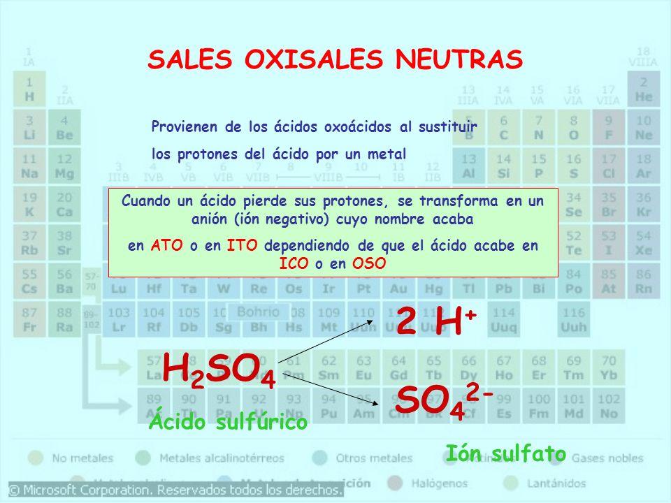 SALES OXISALES NEUTRAS Provienen de los ácidos oxoácidos al sustituir los protones del ácido por un metal Cuando un ácido pierde sus protones, se tran