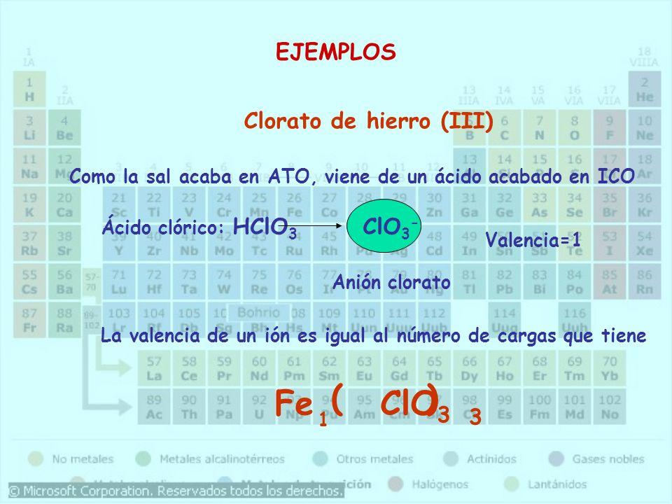 Clorato de hierro (III) Como la sal acaba en ATO, viene de un ácido acabado en ICO Ácido clórico: HClO 3 ClO 3 - ClO 3 Fe La valencia de un ión es igu