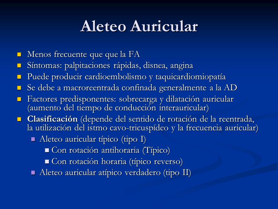 Aleteo Auricular Menos frecuente que que la FA Menos frecuente que que la FA Síntomas: palpitaciones rápidas, disnea, angina Síntomas: palpitaciones r