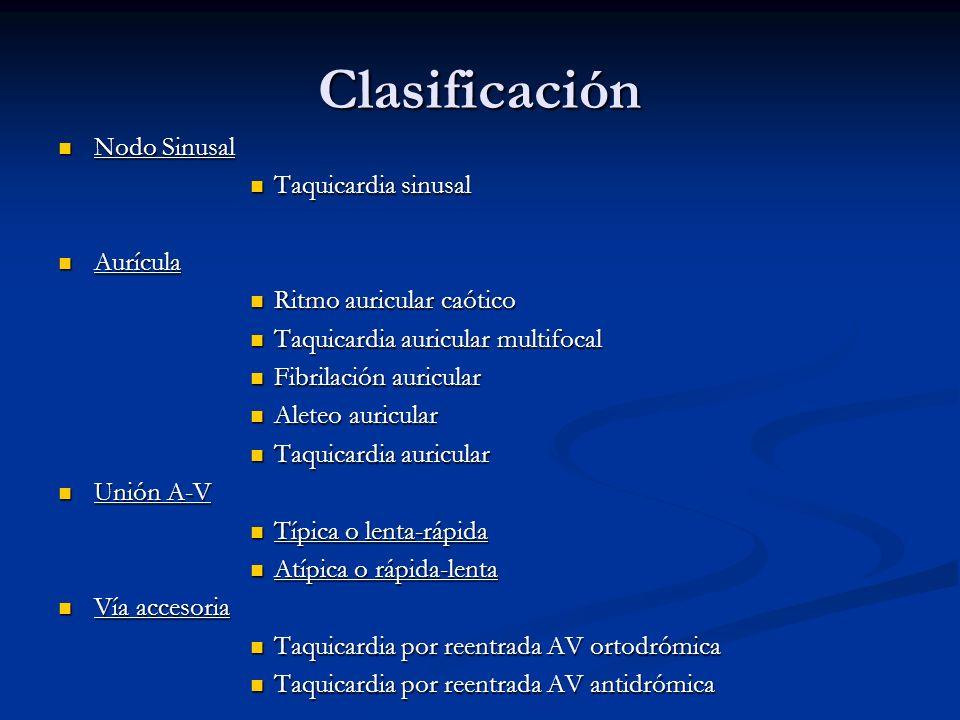 Clasificación Nodo Sinusal Nodo Sinusal Taquicardia sinusal Taquicardia sinusal Aurícula Aurícula Ritmo auricular caótico Ritmo auricular caótico Taqu