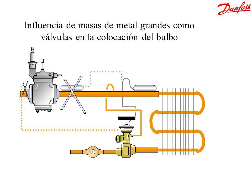 Influencia de masas de metal grandes como válvulas en la colocación del bulbo