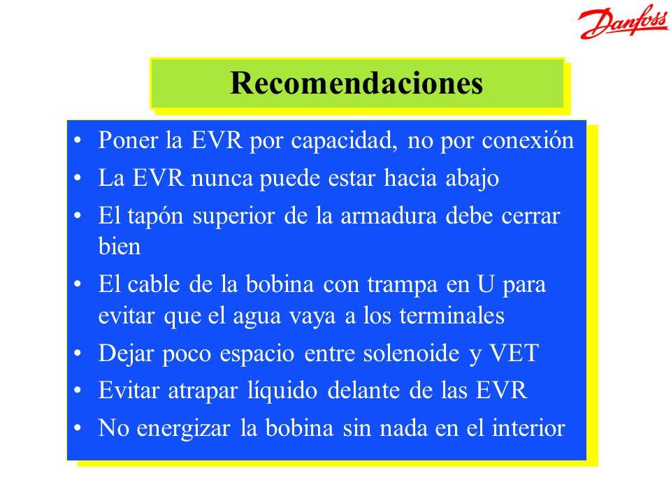 Recomendaciones Poner la EVR por capacidad, no por conexión La EVR nunca puede estar hacia abajo El tapón superior de la armadura debe cerrar bien El