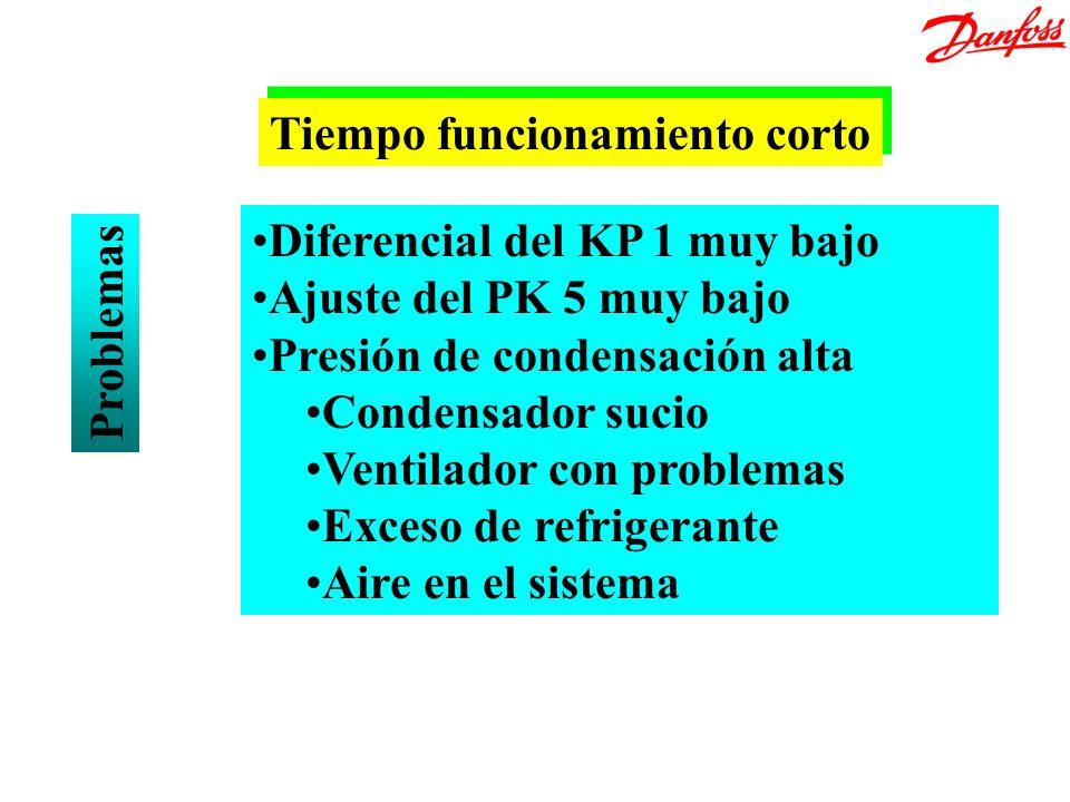 Problemas Diferencial del KP 1 muy bajo Ajuste del PK 5 muy bajo Presión de condensación alta Condensador sucio Ventilador con problemas Exceso de ref