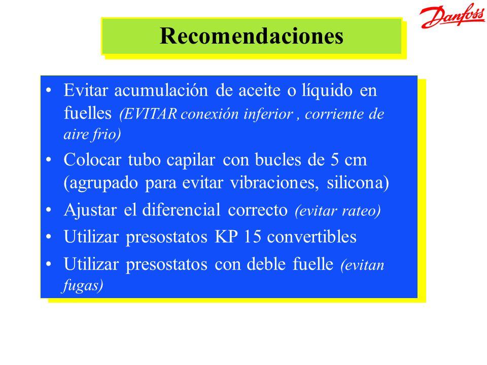 Recomendaciones Evitar acumulación de aceite o líquido en fuelles (EVITAR conexión inferior, corriente de aire frio) Colocar tubo capilar con bucles d
