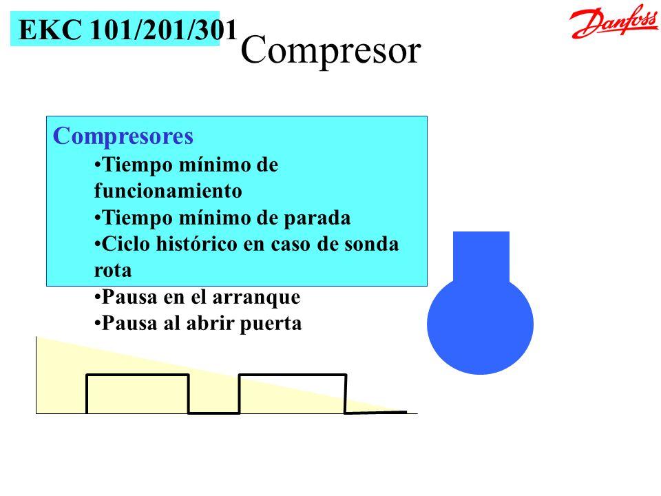 Compresores Tiempo mínimo de funcionamiento Tiempo mínimo de parada Ciclo histórico en caso de sonda rota Pausa en el arranque Pausa al abrir puerta E