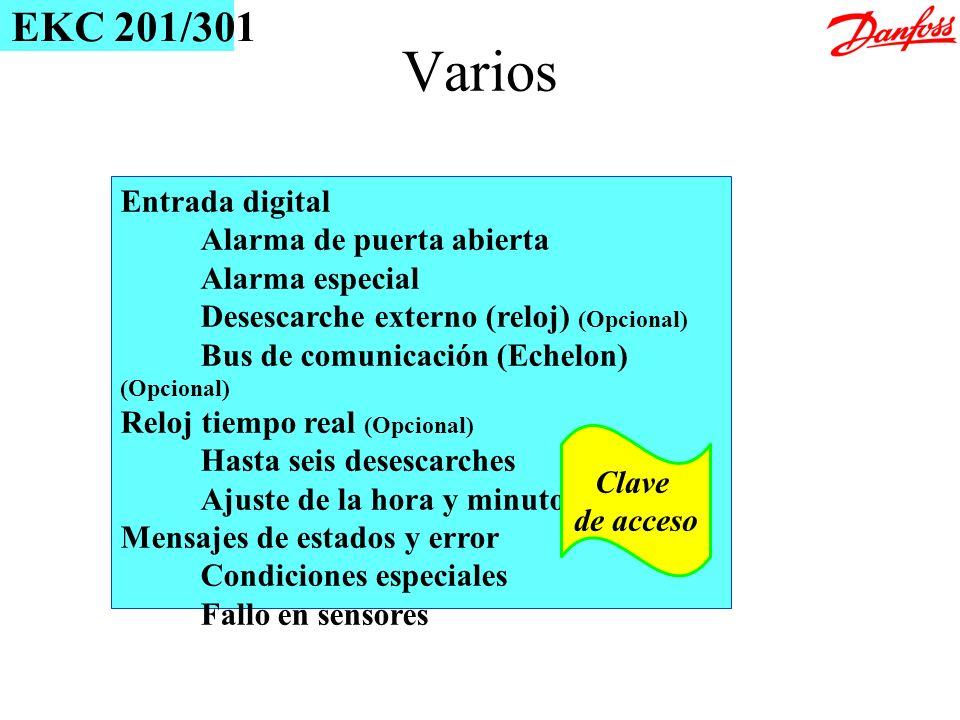 Entrada digital Alarma de puerta abierta Alarma especial Desescarche externo (reloj) (Opcional) Bus de comunicación (Echelon) (Opcional) Reloj tiempo