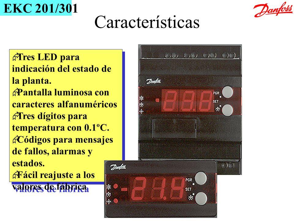 Tres LED para indicación del estado de la planta. Pantalla luminosa con caracteres alfanuméricos Tres dígitos para temperatura con 0.1ºC. Códigos para