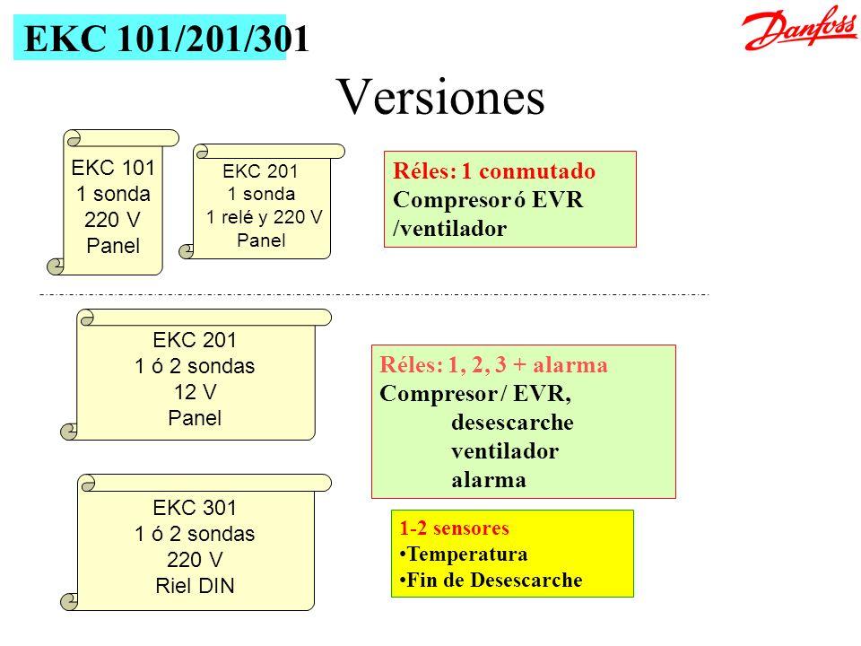 Versiones Réles: 1, 2, 3 + alarma Compresor / EVR, desescarche ventilador alarma 1-2 sensores Temperatura Fin de Desescarche EKC 101/201/301 EKC 101 1