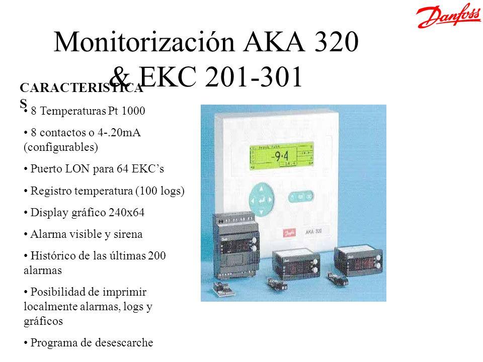 8 Temperaturas Pt 1000 8 contactos o 4-.20mA (configurables) Puerto LON para 64 EKCs Registro temperatura (100 logs) Display gráfico 240x64 Alarma vis