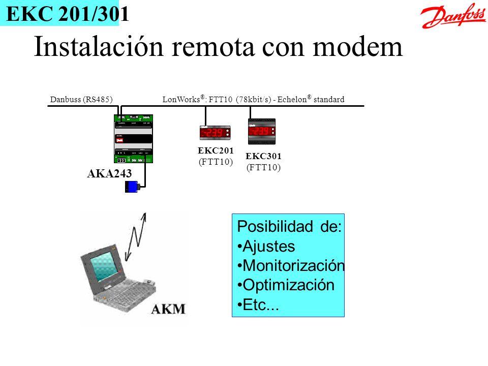 Instalación remota con modem LonWorks ® : FTT10 (78kbit/s) - Echelon ® standard AKA243 Danbuss (RS485) EKC201 (FTT10) EKC301 (FTT10) Posibilidad de: A