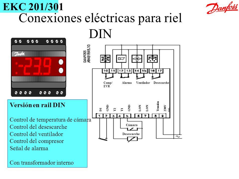 Desescarche Cámara D1 GND T2 T1 GND LON Tensión 230V c.c. Comp/ Alarma Ventilador Desescarche EVR Conexiones eléctricas para riel DIN Versión en rail