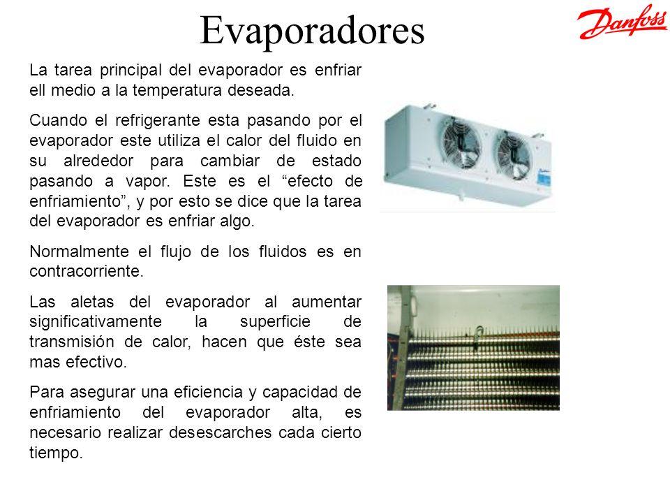 La tarea principal del evaporador es enfriar ell medio a la temperatura deseada. Cuando el refrigerante esta pasando por el evaporador este utiliza el