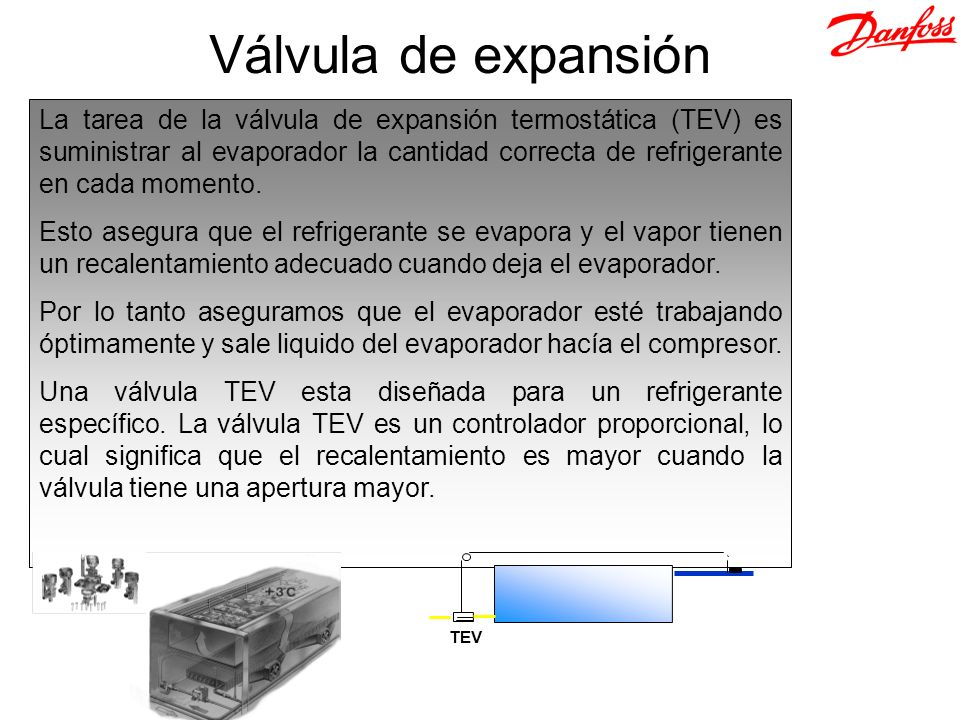 La tarea de la válvula de expansión termostática (TEV) es suministrar al evaporador la cantidad correcta de refrigerante en cada momento. Esto asegura