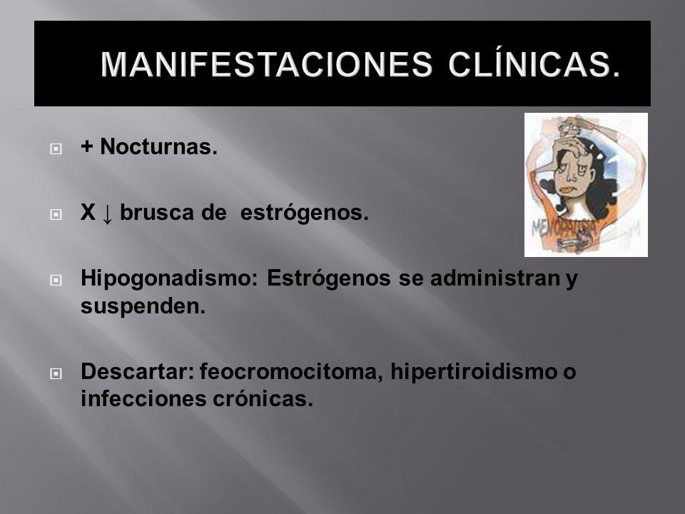 + Nocturnas. X brusca de estrógenos. Hipogonadismo: Estrógenos se administran y suspenden. Descartar: feocromocitoma, hipertiroidismo o infecciones cr